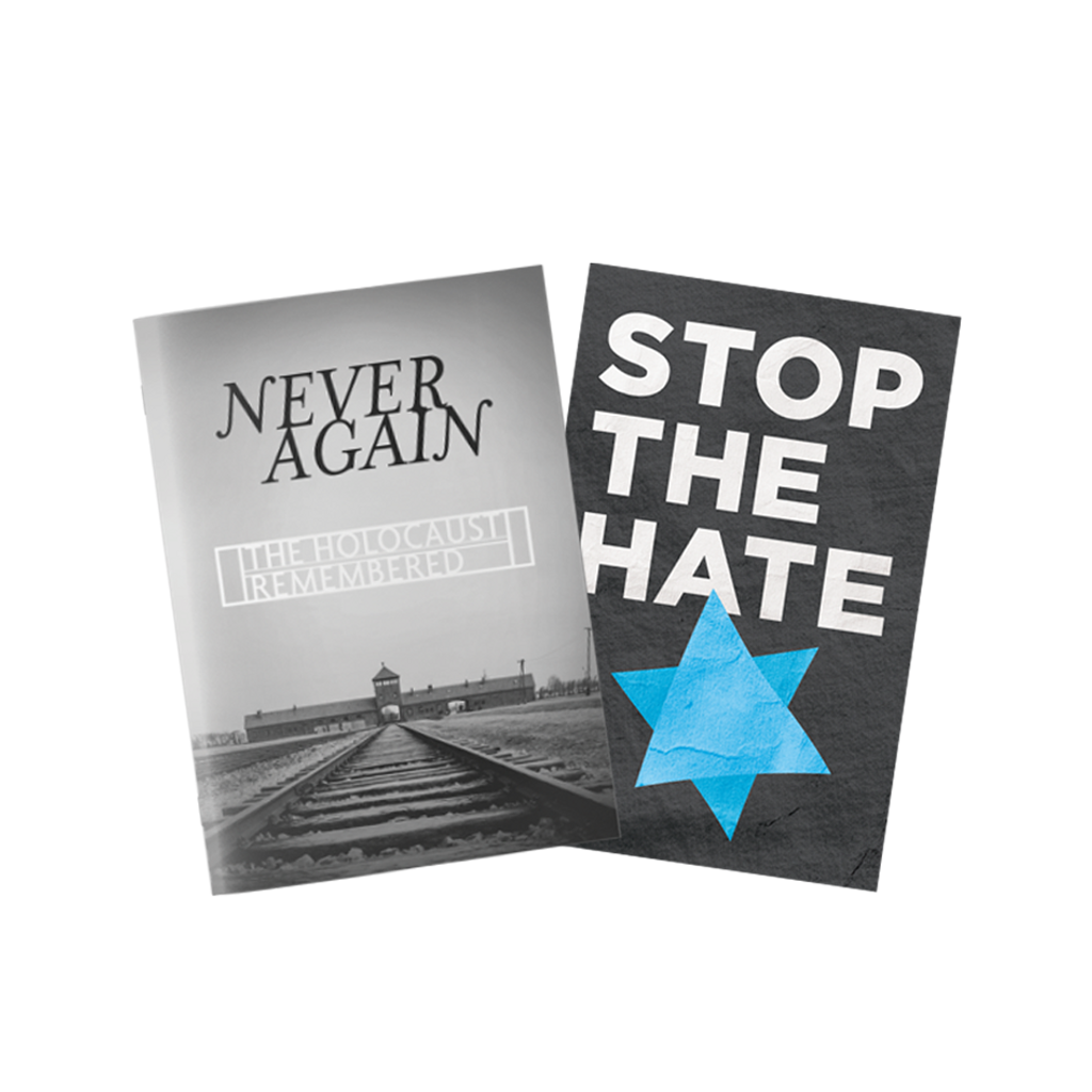 2 Book Set: #2039 Stop the Hate booklet + #3191 Never Again, the Holocaust Remembered