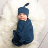 Navy Floral Robe + Solid Navy Swaddle Set