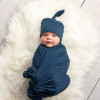 Blue Tie Dye Robe & SOLID NAVY Blue  Swaddle Set