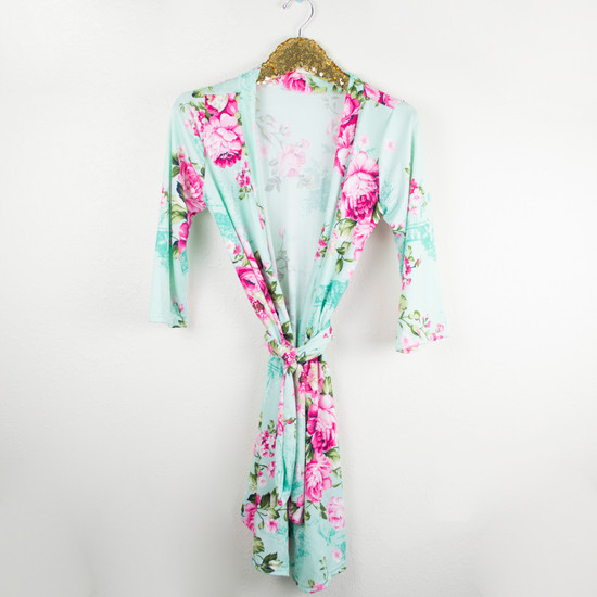 Aqua W/ Pink Floral Robe & Sleep Sack