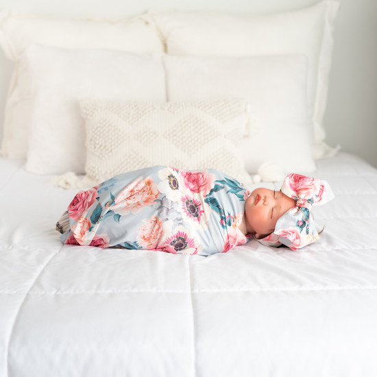 Dusty Pink Floral Swaddle Set