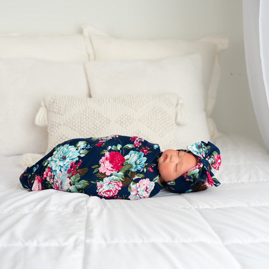 Navy Blue W/ Pink Floral Swaddle Set