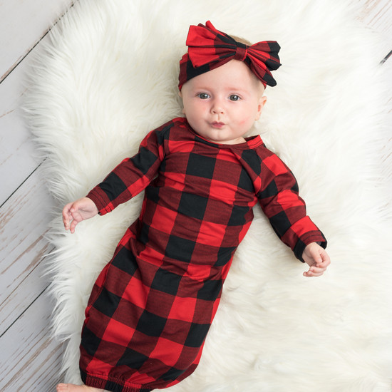 Red Gingham Robe & Baby Gown