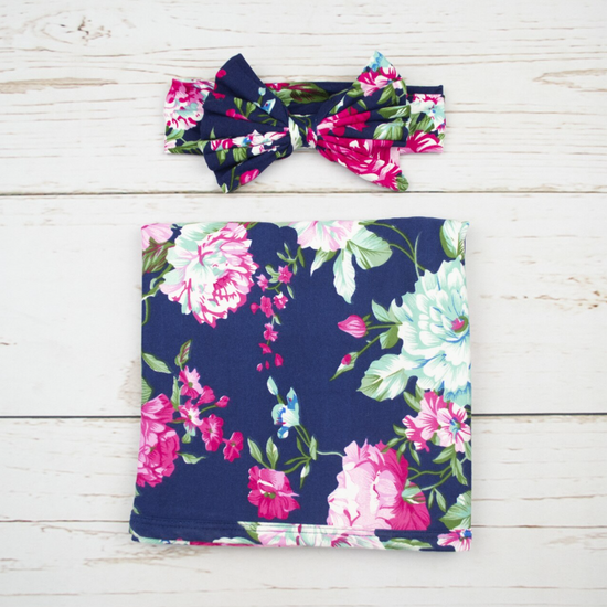 Navy W/ Pink Robe & Floral Swaddle Set