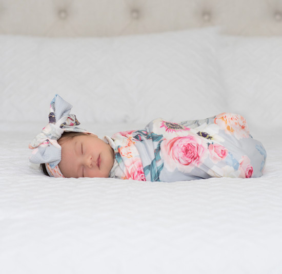 Dusty Pink Floral Robe & Swaddle Set