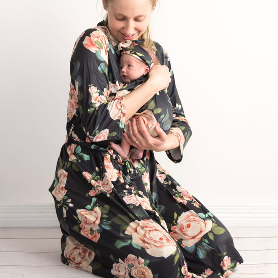 Black Floral Robe & Baby Gown Set