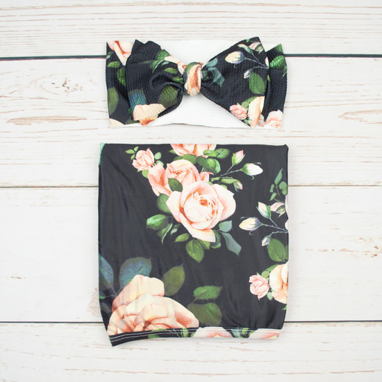 Black Floral Robe & Swaddle Set