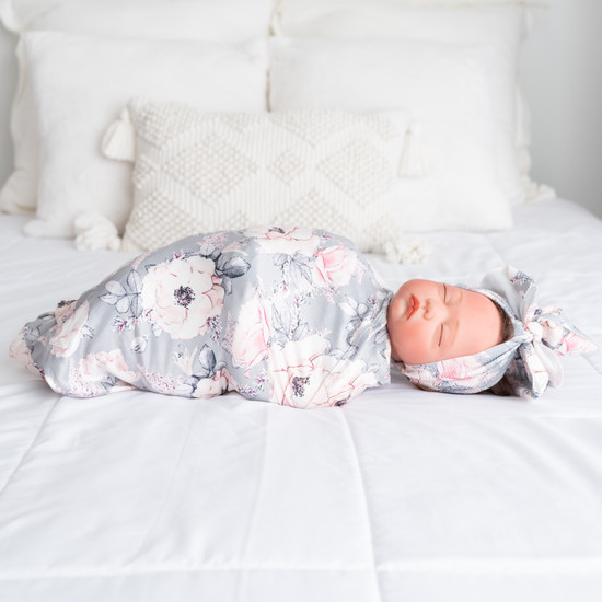 Grey Floral Robe & Swaddle