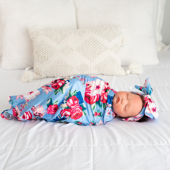 Light Blue Floral Robe & Floral Swaddle Set