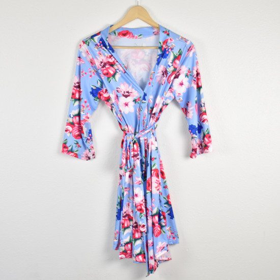 Light Blue Floral Robe & Navy Swaddle Set