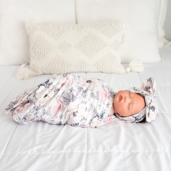 Pink with white Floral Swaddle Set