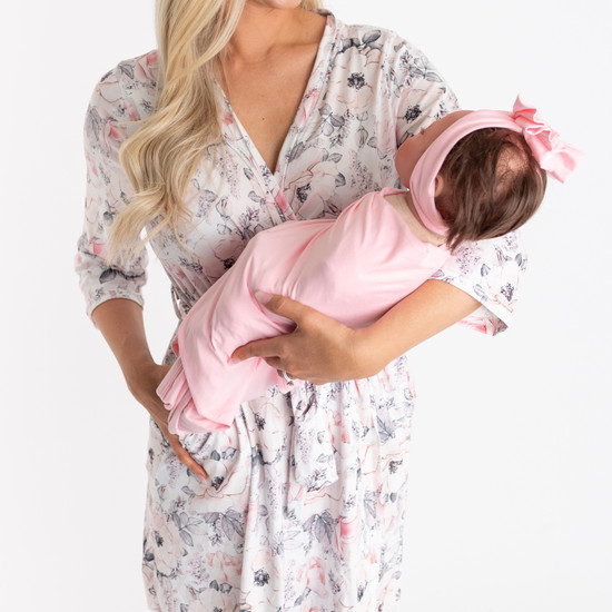 Pink White & Solid Pink Swaddle Set