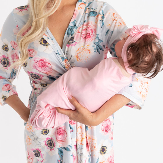 Dusty Pink and SOLID PINK Swaddle Set
