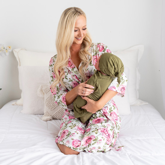 White Floral + Green Swaddle Set