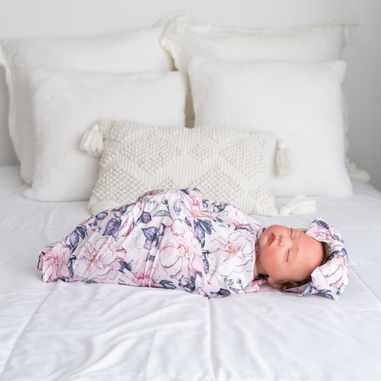 Pink Purple Robe and Swaddle Set