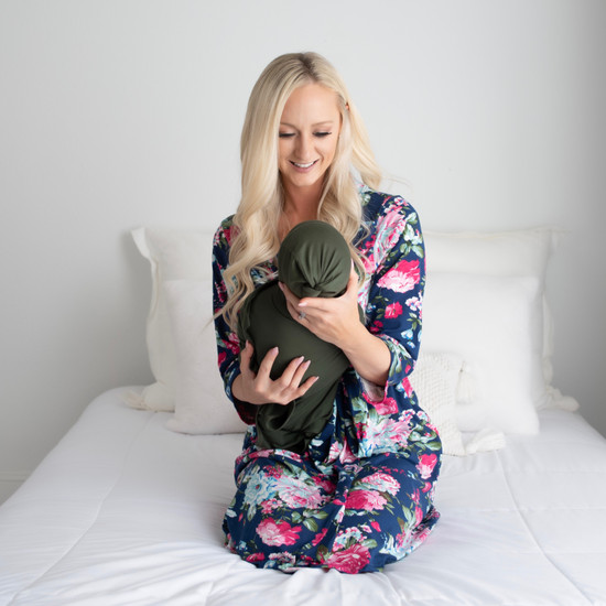 Navy Floral Robe + Taylor Swaddle Set