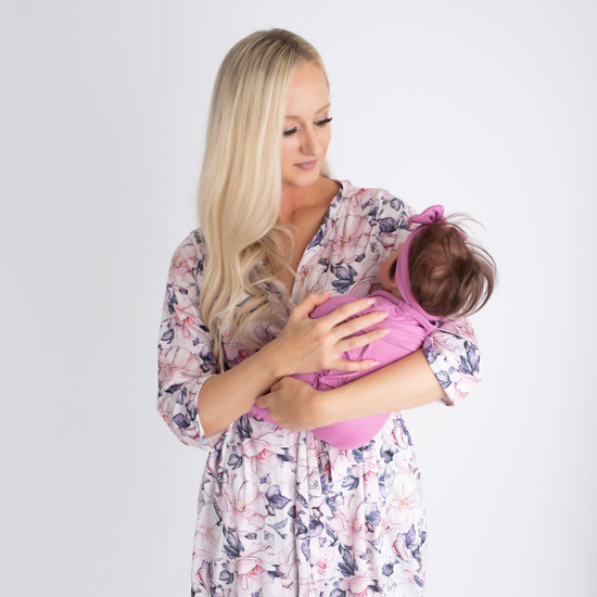 Pink Purple Robe + Lyndi Swaddle Set