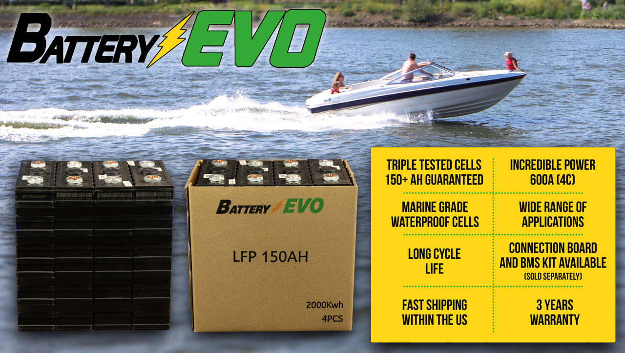 12V Battery Lithium 150Ah 2 kWh LiFePO4 LFP Solar Trailer Golf Cart Cabin Scooter Boat