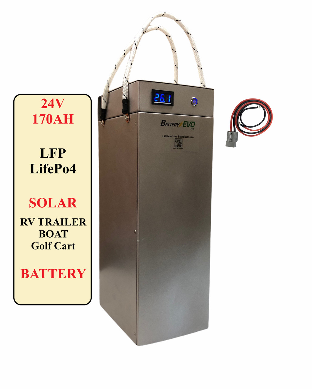 24V Battery Lithium 170Ah 4.5 kWh LiFePO4 LFP Solar Trailer Golf Cart Cabin Scooter Boat