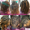 6 inch extensions installed on natural hair. Loc Quantity= 90 Size= .5cm