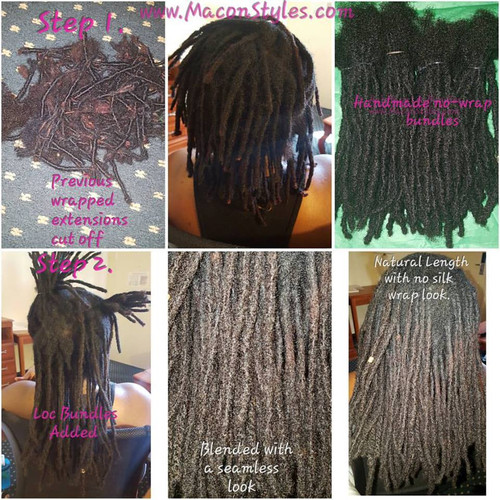 Previous loc extensions with wrap-look were removed, the client had several inches of natural locked hair. I added Hairitage loc bundles in place of the existing extensions.
