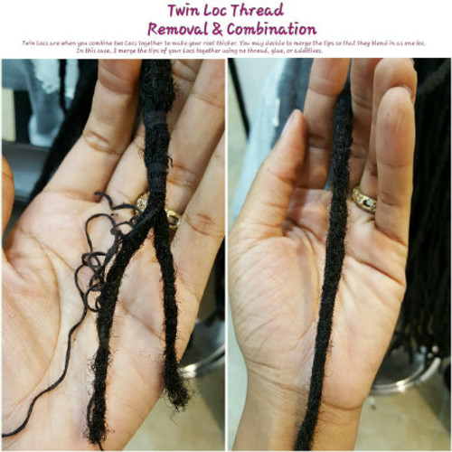 Our client had thread previously wrapped to combine his locs. Macon Styles removed the thread and combined the client's locs using our natural combination method.