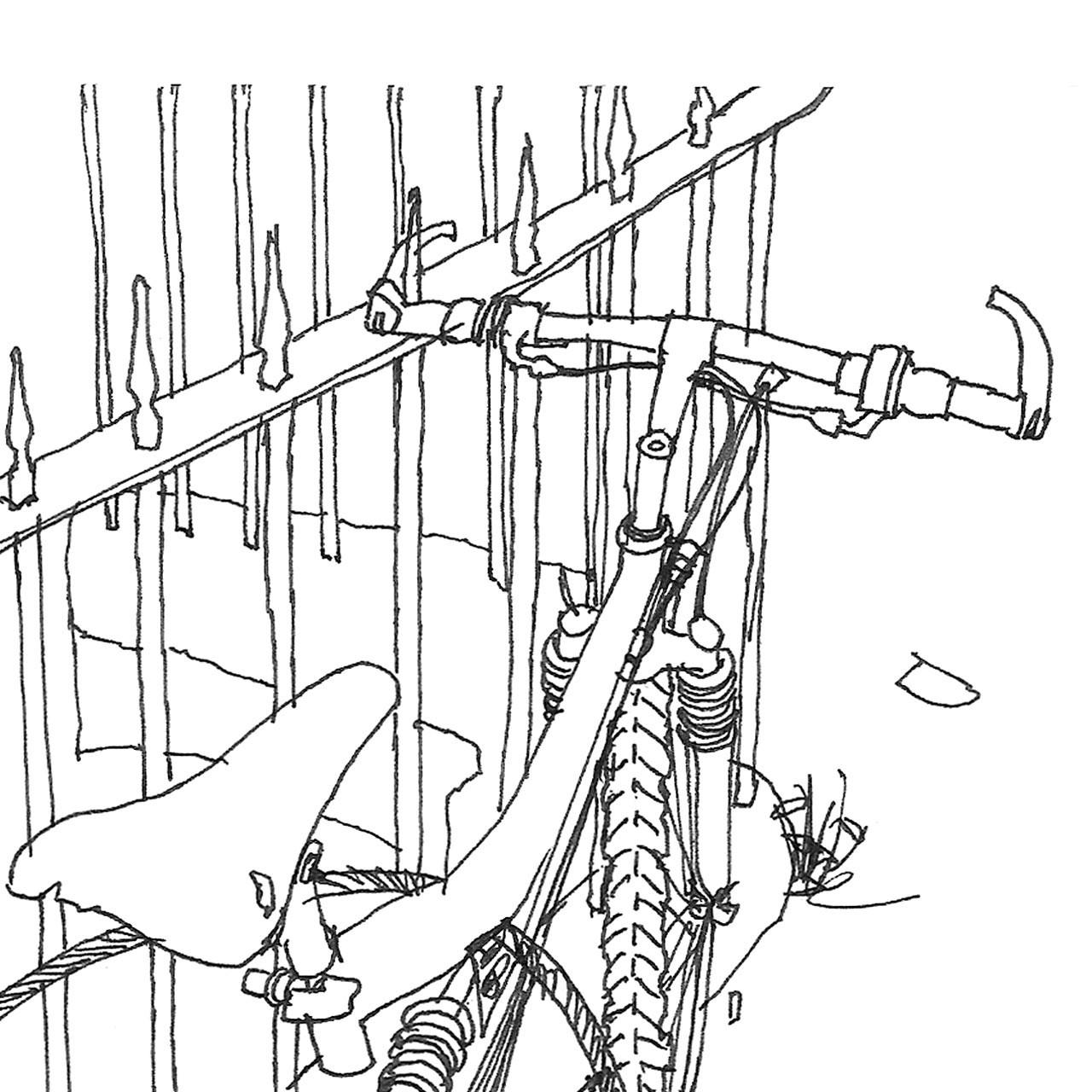 Close-up of 'By the Railings' Art Print (ink drawing by David Cobley) from The Printed Home