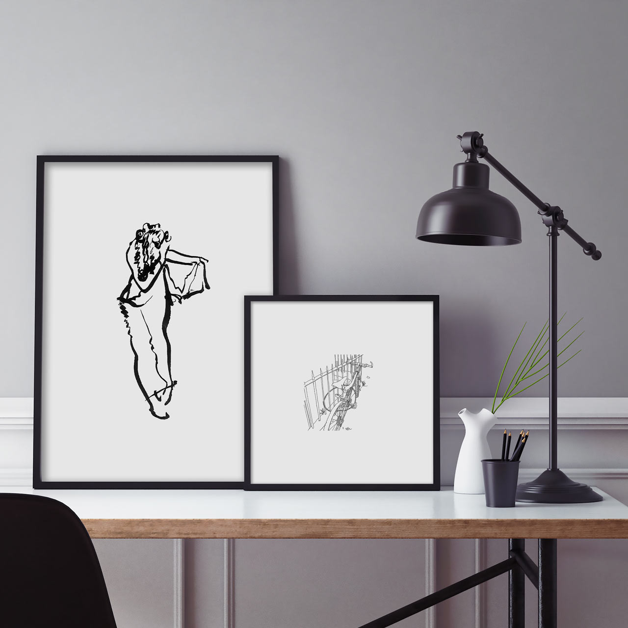 'Trousers' and 'By the Railings' Art Prints (ink drawings by David Cobley) from The Printed Home