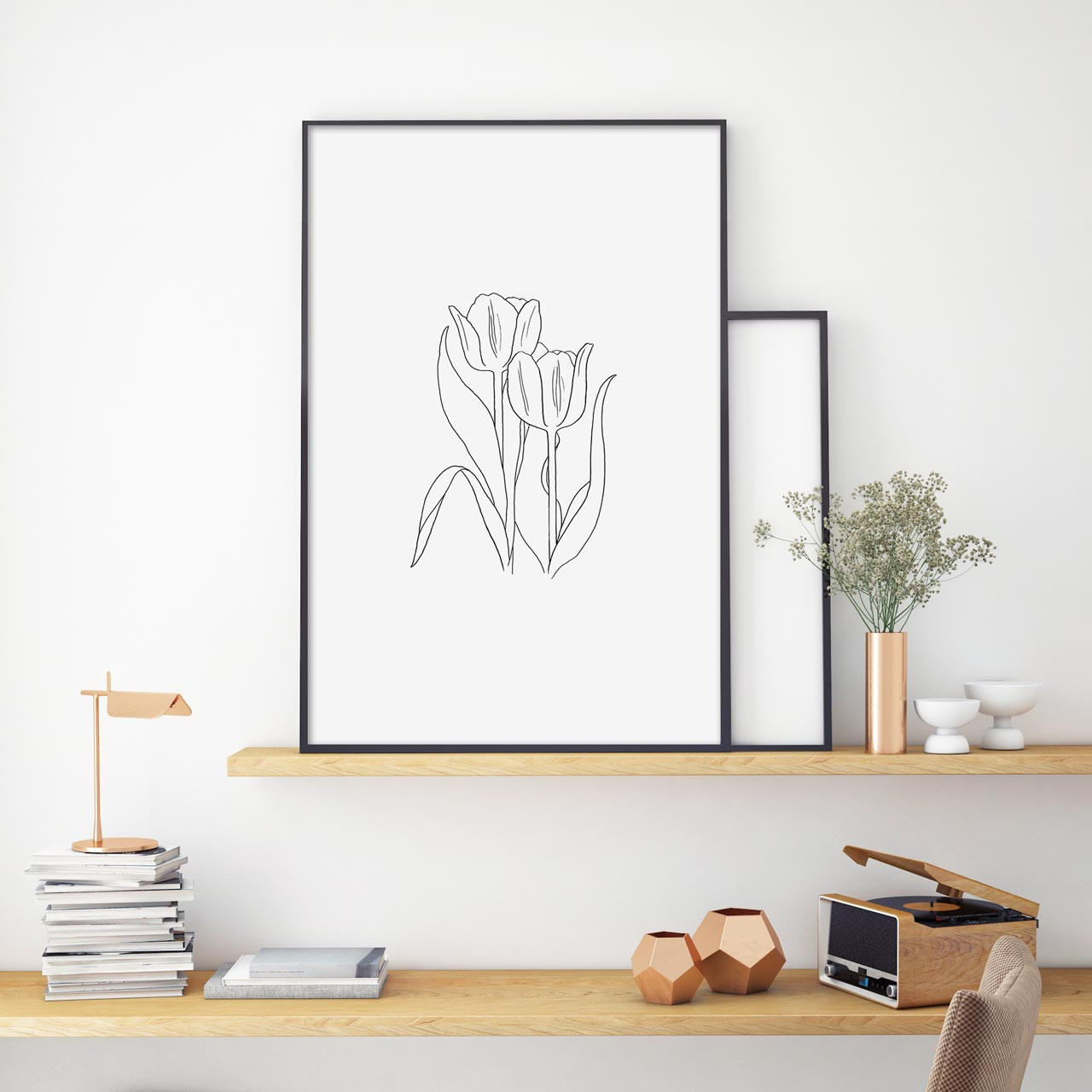 'Tulips' Art Print (ink drawing) from The Printed Home
