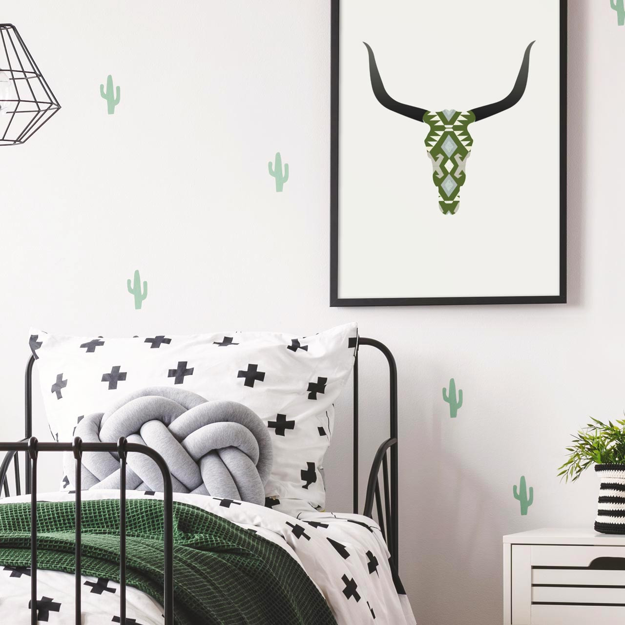 'Longhorn Skull' Art Poster in Green from The Printed Home