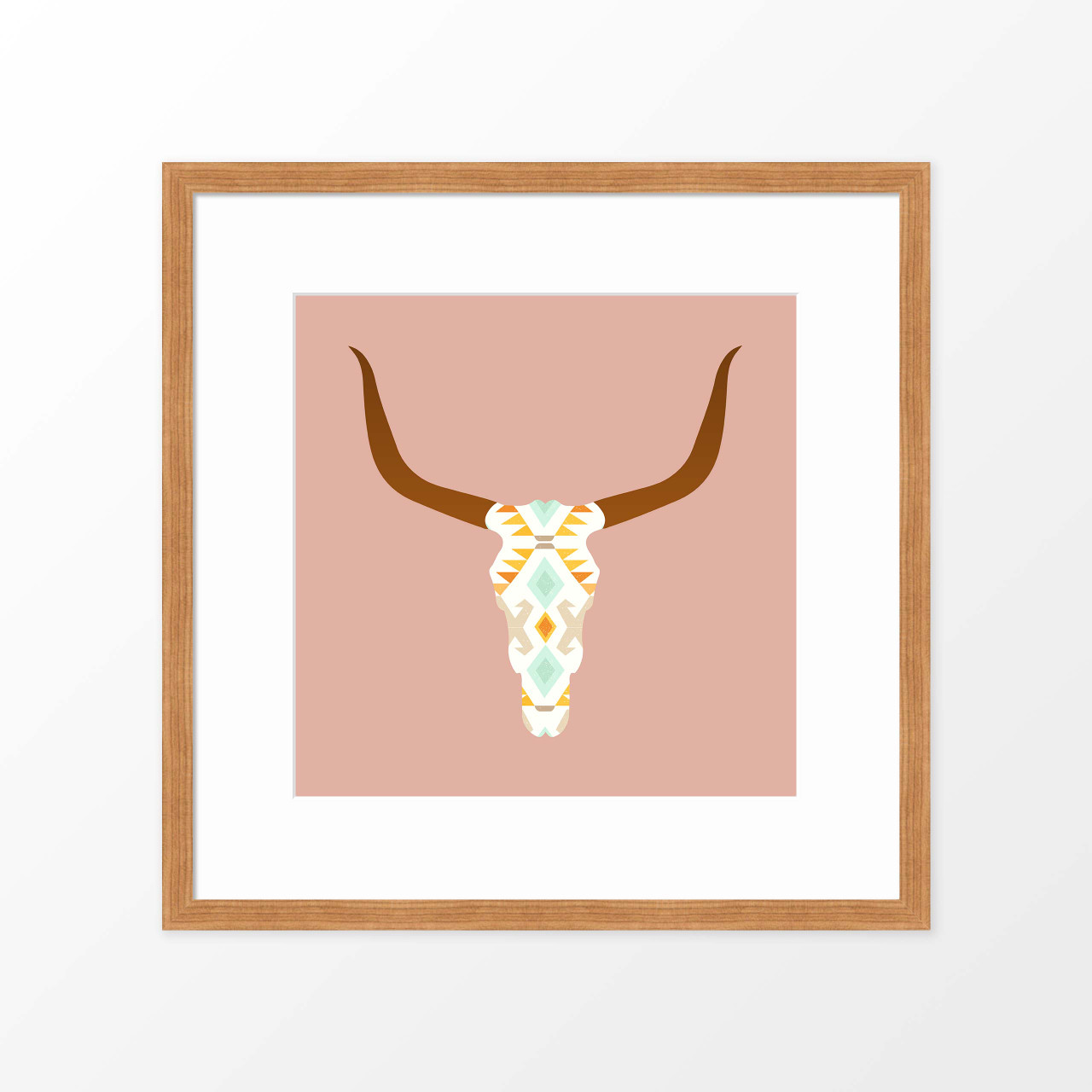 'Longhorn Skull' Art Poster in Pink from The Printed Home