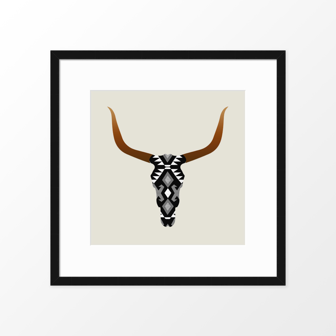 'Longhorn Skull' Art Poster in Black from The Printed Home