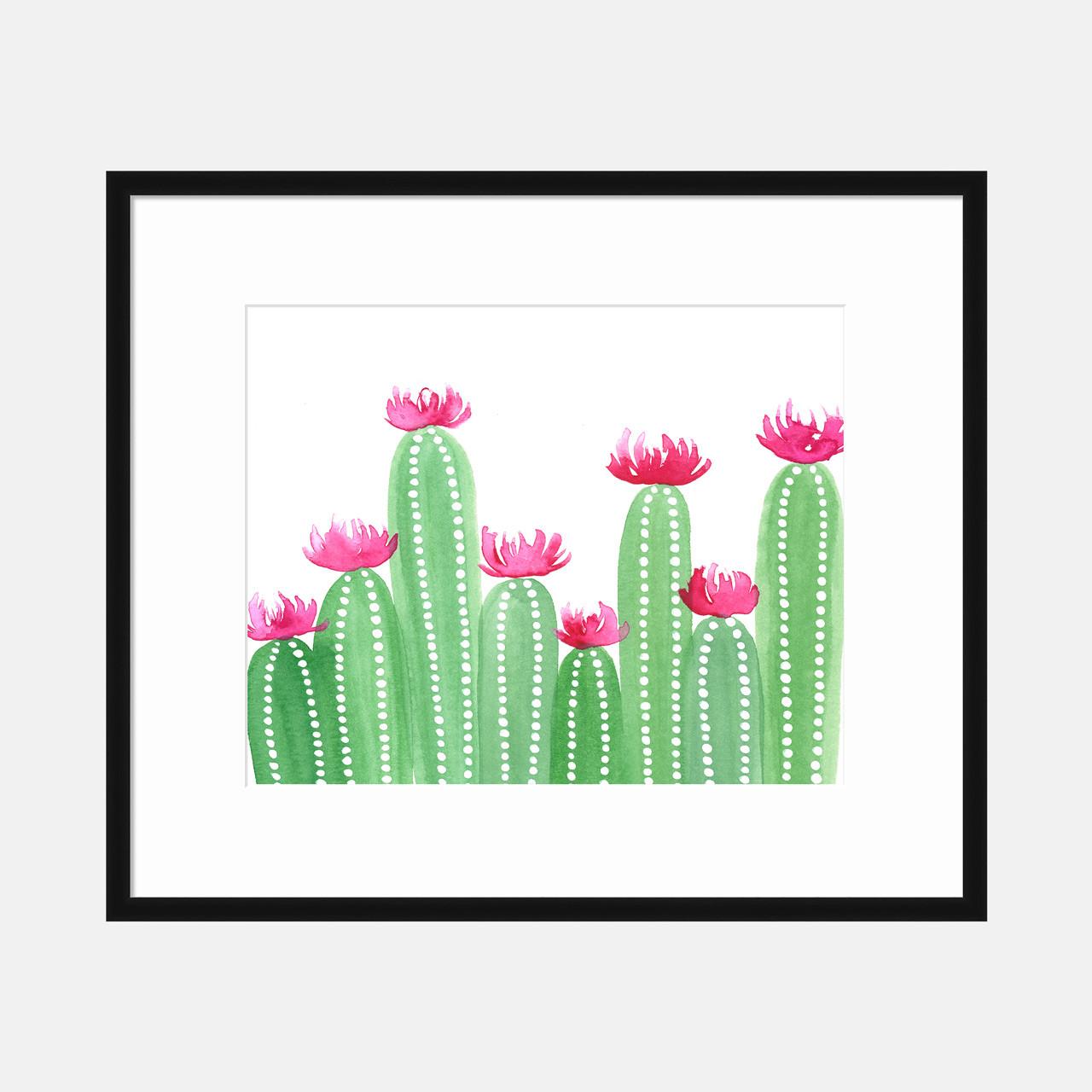 'Happy Cacti' Watercolor Art Print