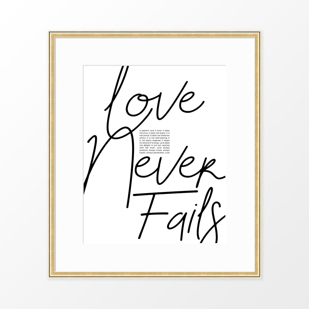 'Love Never Fails' Bible Verse - Modern Typography Poster from The Printed Home