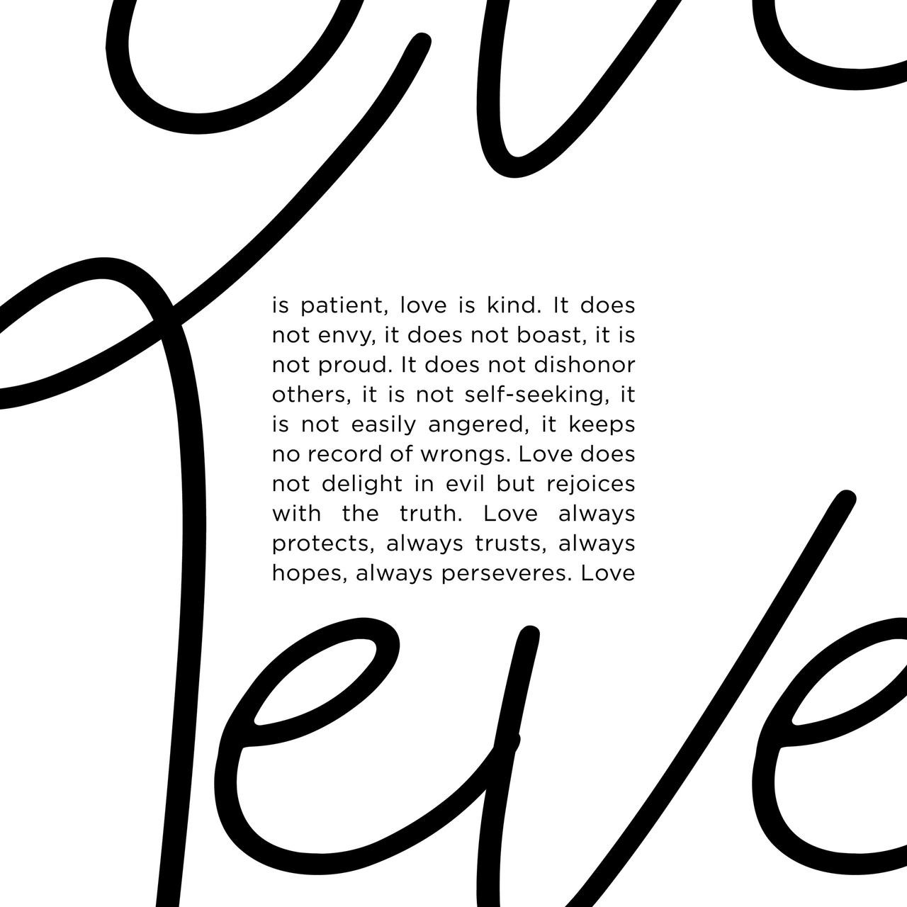 Close-up of 'Love Never Fails' Bible Verse - Modern Typography Poster from The Printed Home