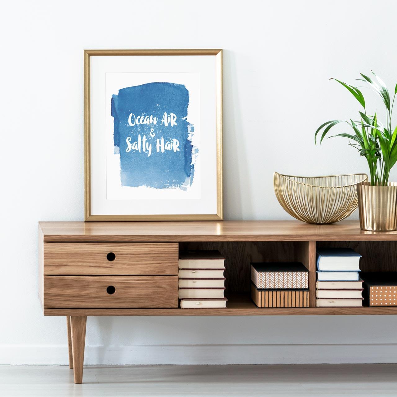 'Ocean Air & Salty Hair' Art Print from The Printed Home