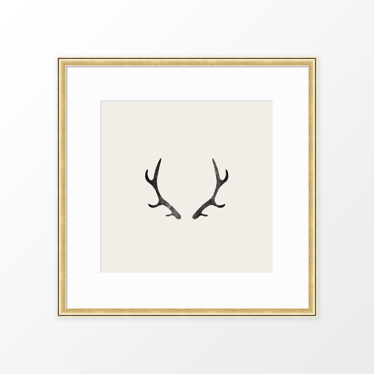 'Antlers' Block-printed Art Print from The Printed Home