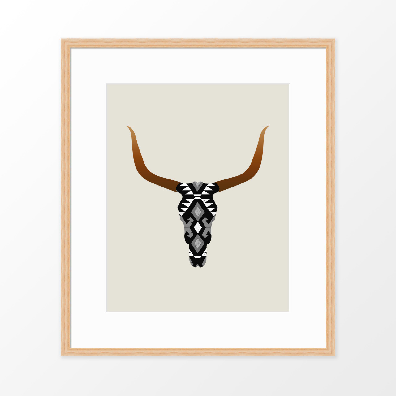 'Longhorn Skull' Art Poster in Black from The Printed Home (Printable)