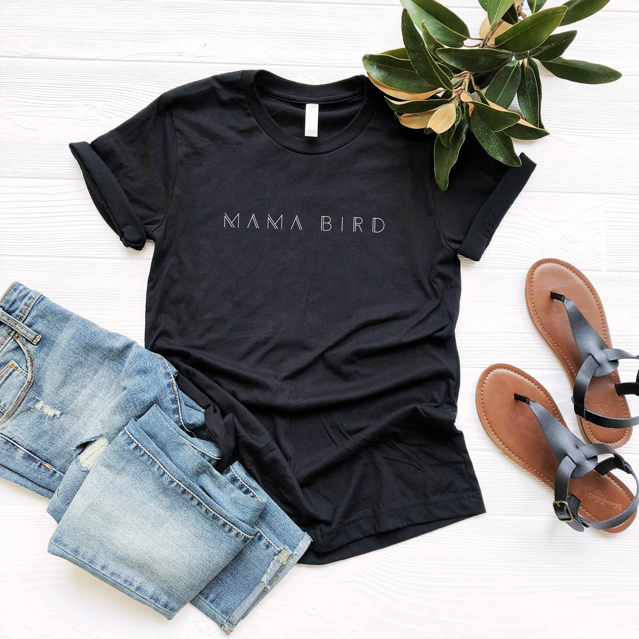 MAMA BIRD Cotton T-Shirt (White on Black) from The Printed Home
