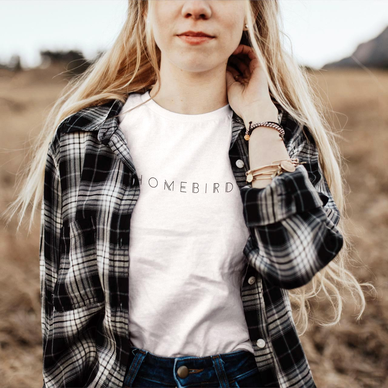 HOMEBIRD Cotton T-Shirt (Black on White) from The Printed Home
