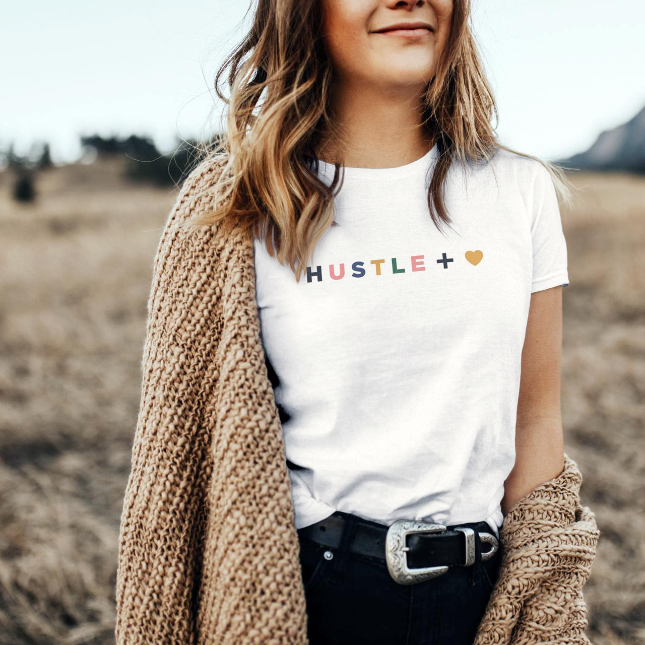 HUSTLE + HEART Cotton T-Shirt (Color on White) from The Printed Home