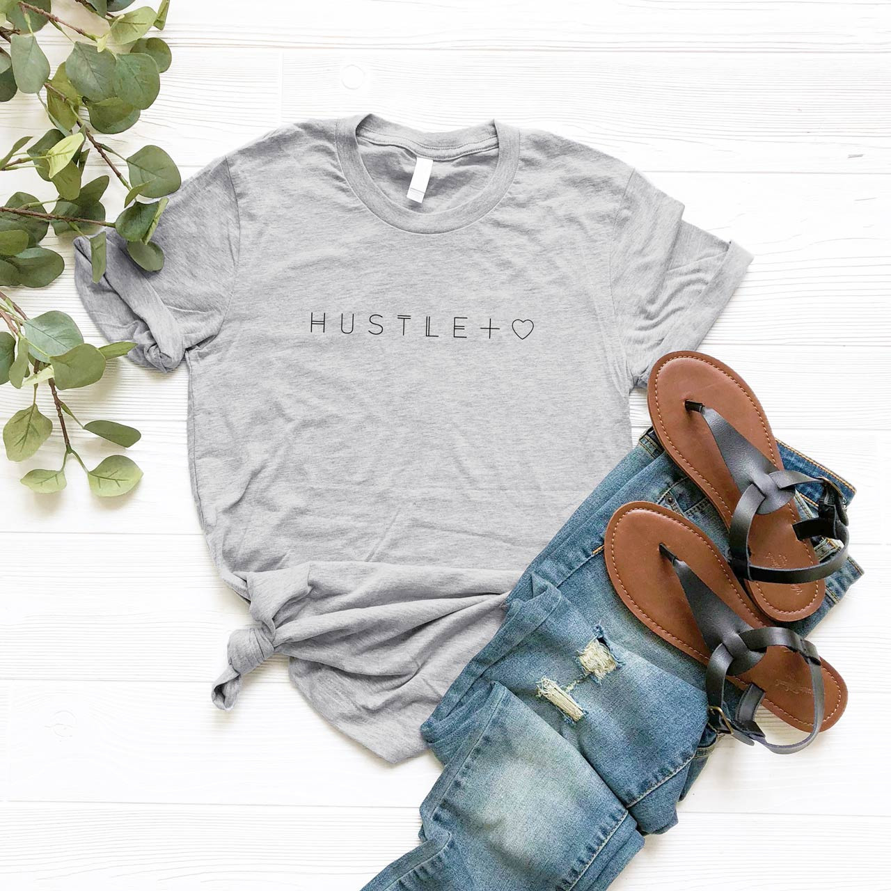 HUSTLE + HEART Cotton T-Shirt (Black on Gray) from The Printed Home