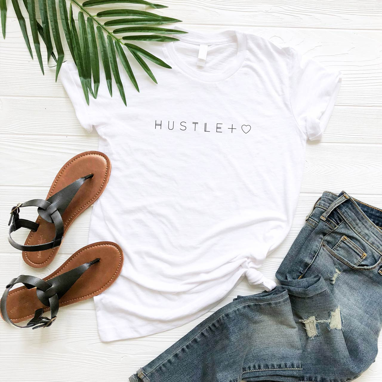 HUSTLE + HEART Cotton T-Shirt (Black on White) from The Printed Home