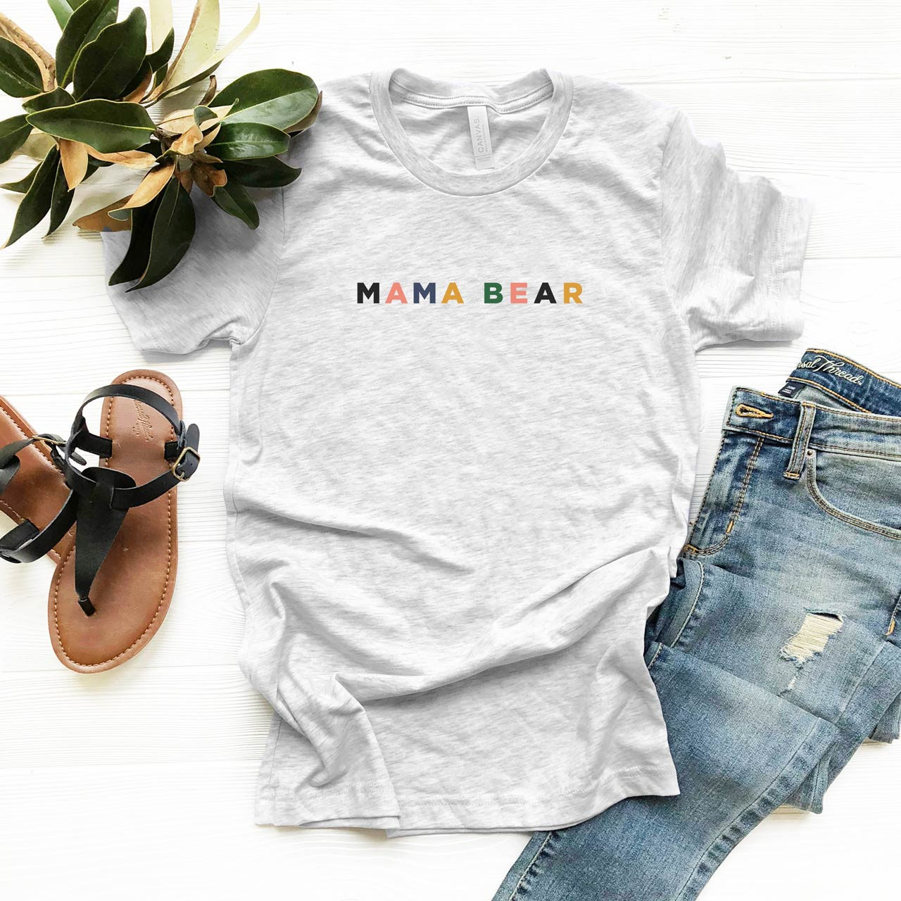 MAMA BEAR Vintage T-Shirt (Color on Light Gray Fleck) from The Printed Home