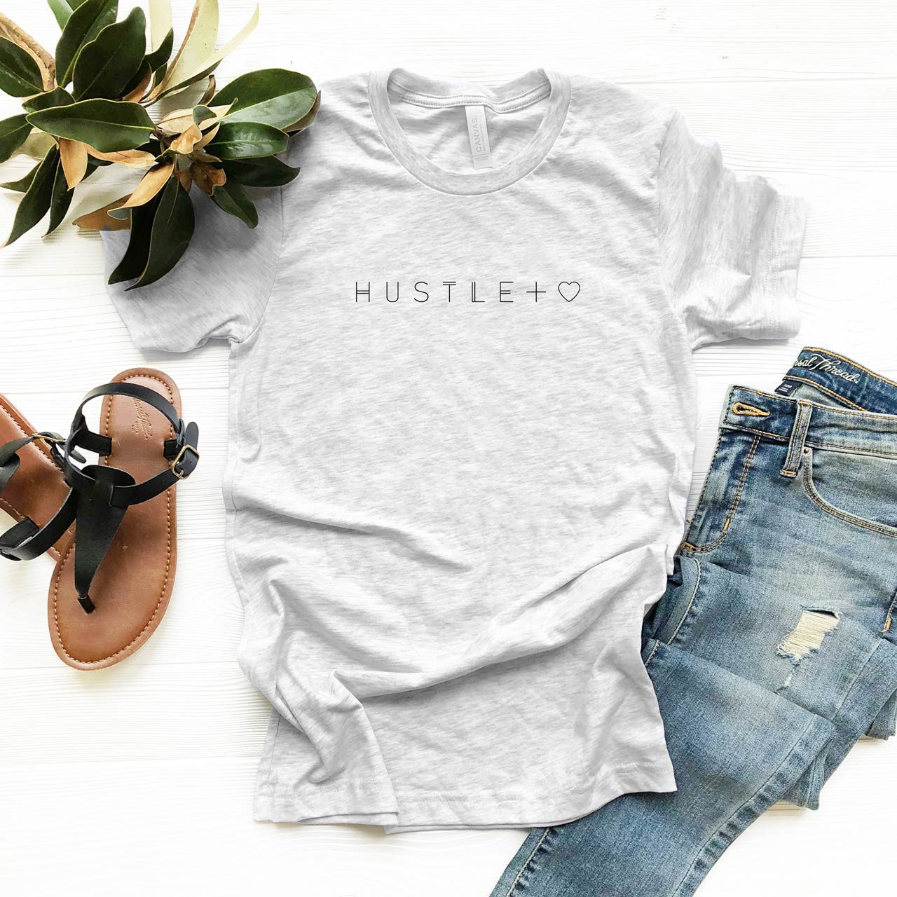 HUSTLE + HEART Vintage T-Shirt (Black on Light Gray Fleck) from The Printed Home