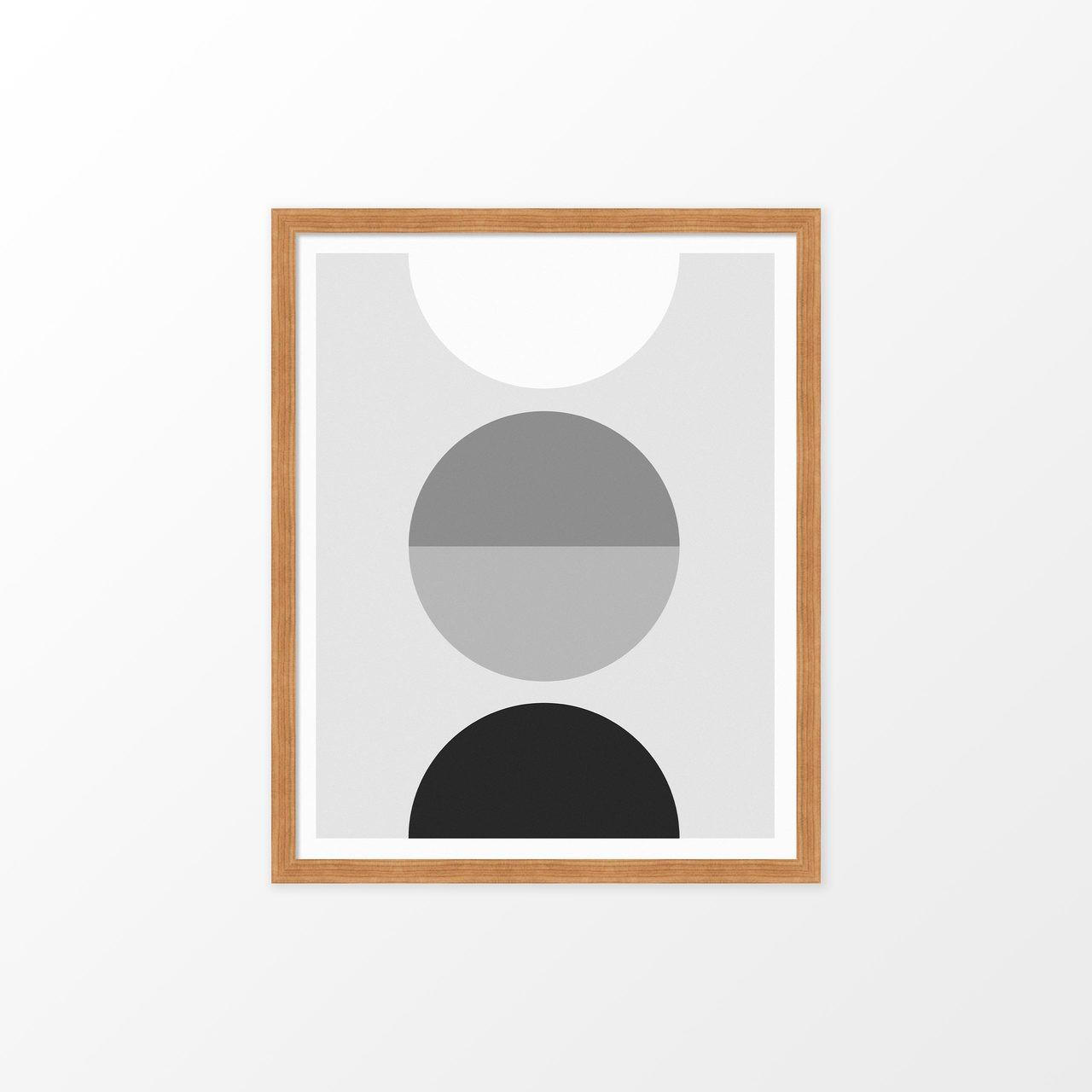 'Luna' Black and White Geometric Digital Art Print from The Printed Home