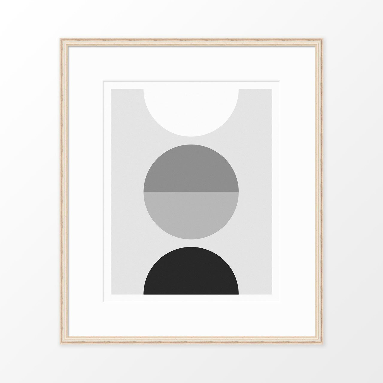 'Luna' Black and White Geometric Digital Art Print from The Printed Home