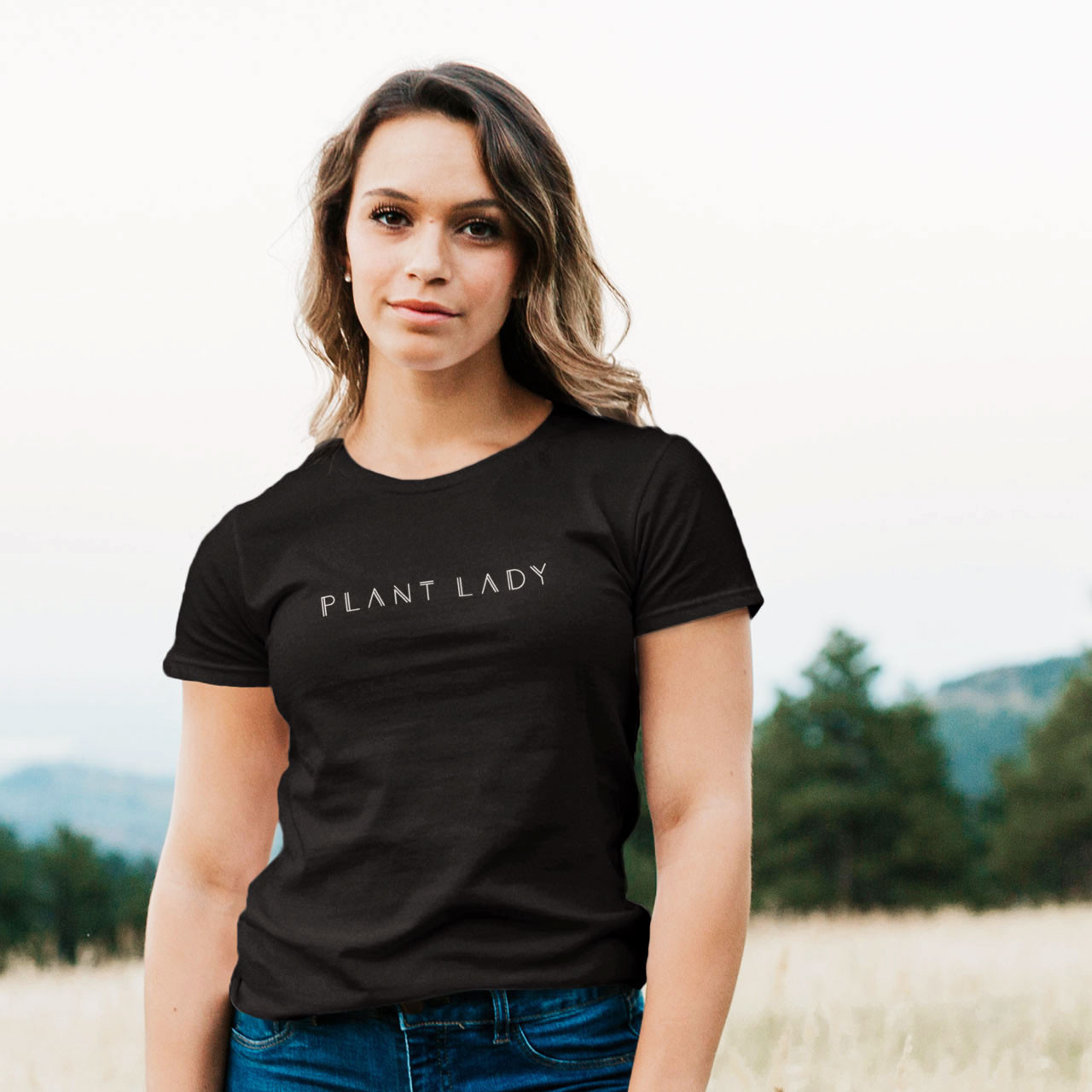 PLANT LADY Cotton T-Shirt (White on Black) from The Printed Home