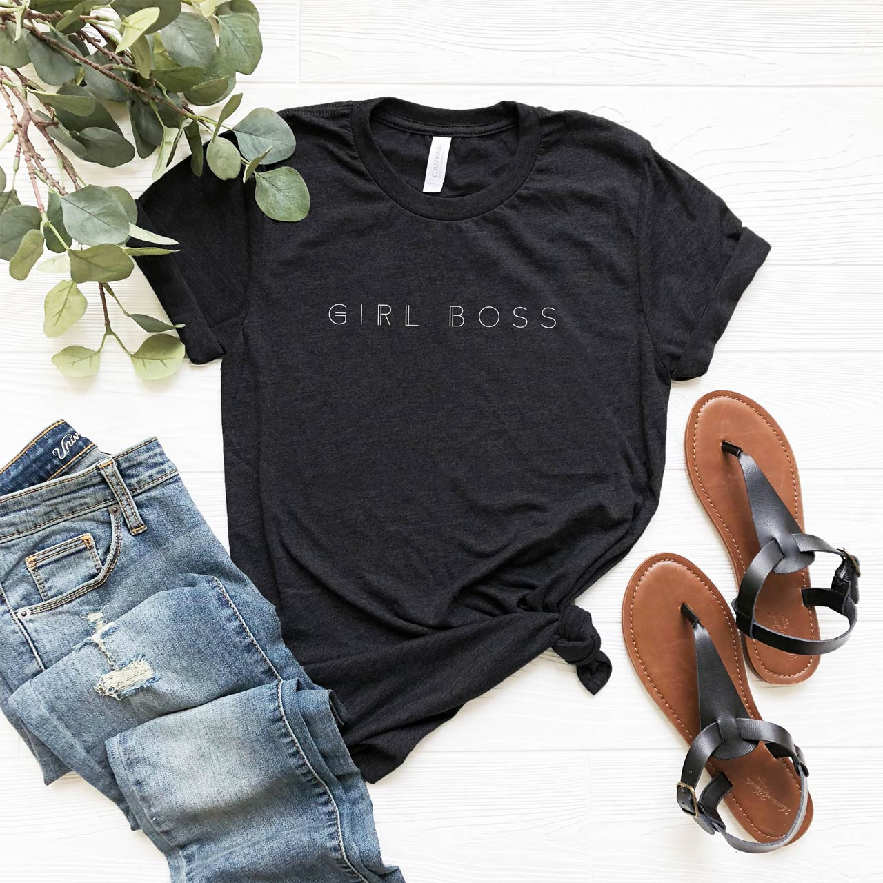 GIRL BOSS Vintage T-Shirt (White on Charcoal Gray) from The Printed Home