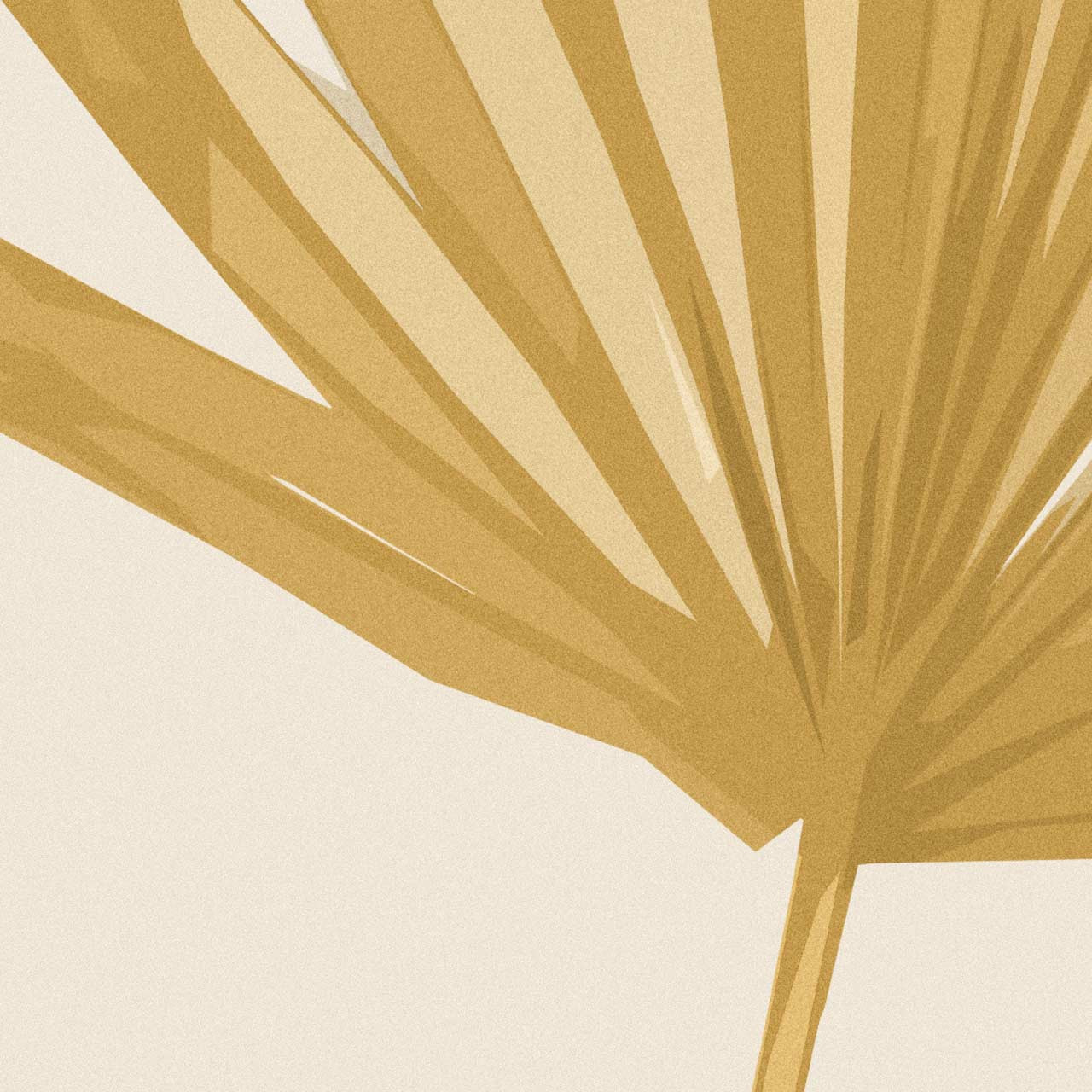 Close-up of 'Sun Palm III' in Ochre Abstract Leaf Art Print from The Printed Home
